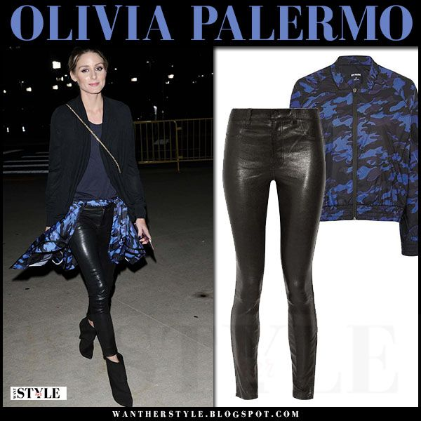 Olivia Palermo in black leather pants and blue camo print jacket