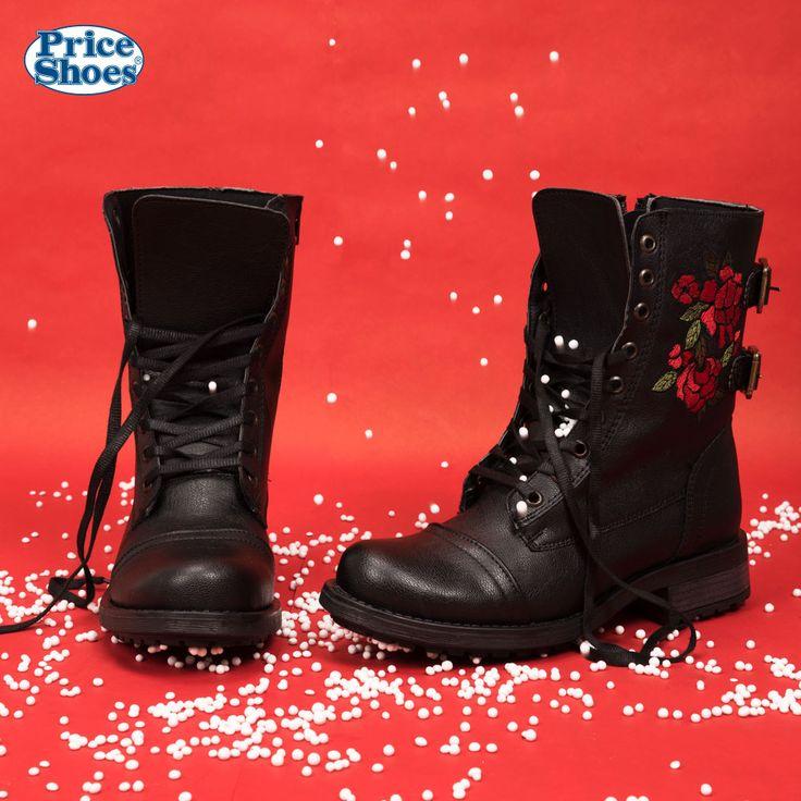 BOTA CORTA HEAVY DAMA  #Botas #negro #bordado #flores #PriceShoes #calzadodama #Navidad #2017
