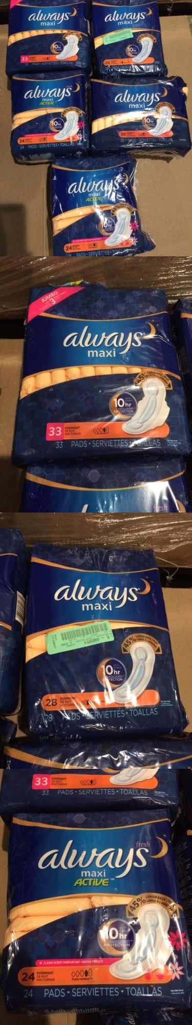 Other Feminine Hygiene: Always Maxi Pads Lot Of 5 Pkgs Overnight Pads-Scented And Unscented -> BUY IT NOW ONLY: $36.99 on eBay!