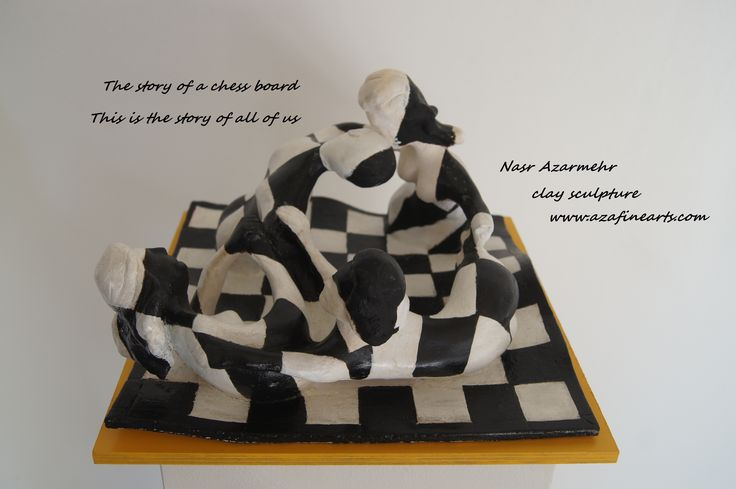 The story of a chess board This is the story of all of us Nasr azarmehr sculptor #clay #sculpture #Het schaakleven #Schaak baard #beeldhouwen  www.azafinearts.com
