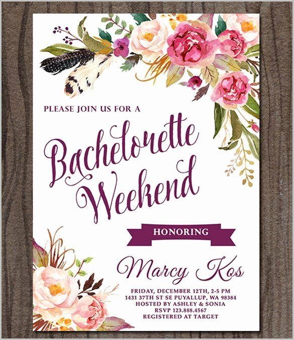 bachelorette party invitation template free elegant