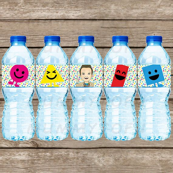Mister Maker Inspired Birthday Party Water Bottle Labels - Mr Mister Maker The Shapes Cbeebies - DIY Party Printable Instant Download