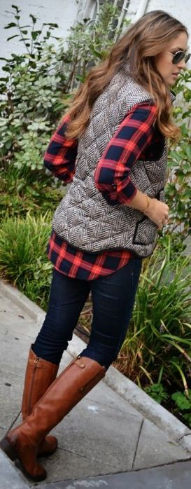 plaid button up, tweed vest, skinny jeans and boots