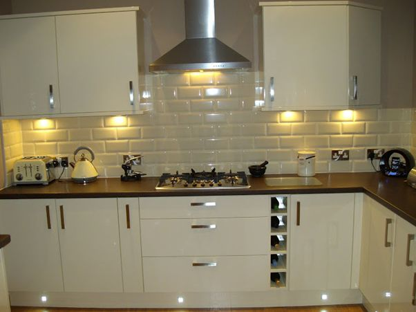Underground tiles kitchen pinterest grey cream and for White gloss kitchen wall cupboards