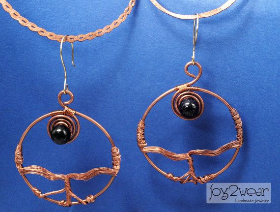 Flow of the Blacklit Moon  Copper wire tiger eye by joy2wear