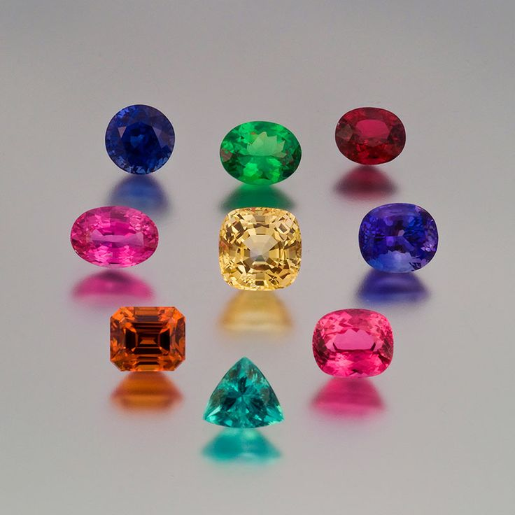2 55ct Blue Sapphire 2 5ct Tsavorite Garnet 2 37ct Red