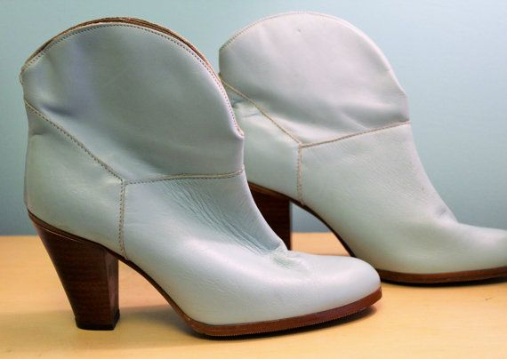 80s vintage in pelle blu breve stivali di TwiggVintage su Etsy