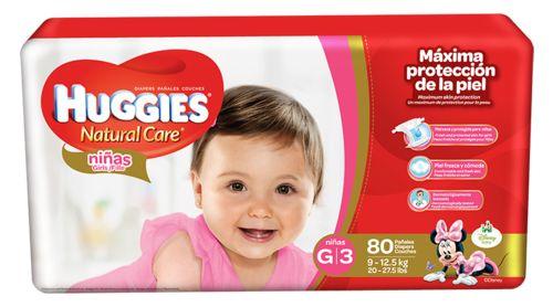 Huggies Natural Care Girls G/3 Super Pack 80 unidades.