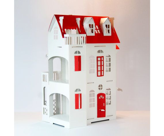 Cardboard Luxury Paper Imagination White Doll House Red Deco Red Roof Doors Windows