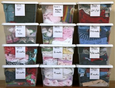 Baby-Kids Clothes Organization. This is what my kids' clothes look like...I just need to put them all together like this in the basement. Makes it so much easier to use for the next kid when they're organized into nice bins like this...take out the clothes they just grew out of and get a fresh bin out:)