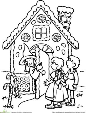 First Grade Fairy Tales Worksheets: Color the Hansel and Gretel Scene