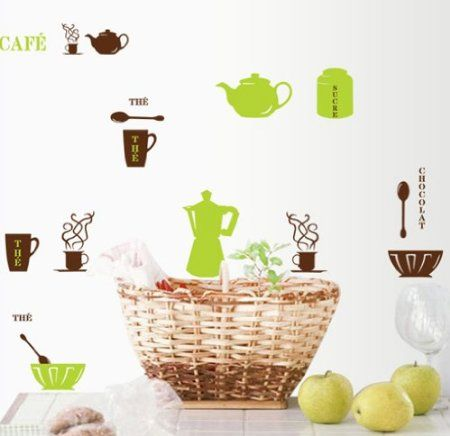 The Cafe Chocolate Word Cups Bowls Pots Spoons Wall Sticker DIY Super for Kitchen Wall Decal