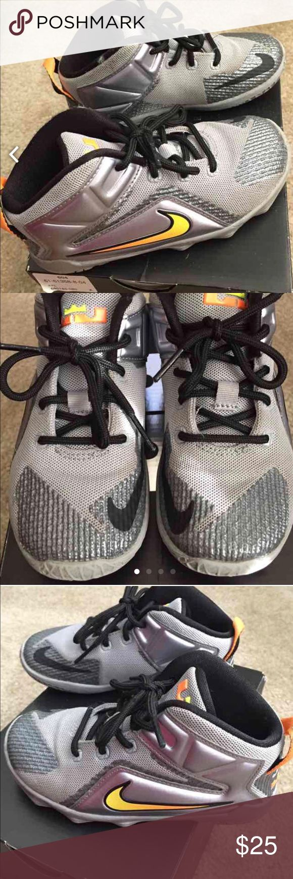 Lebron Xll Toddler wolf grey, citrus, black Lebrons. Great used condition. Lots of life left. Front if ahoe dirty as pictured. I have not yet made an attempt to clean. Will do so before shipping. Box included. Size 10c Nike Shoes Sneakers