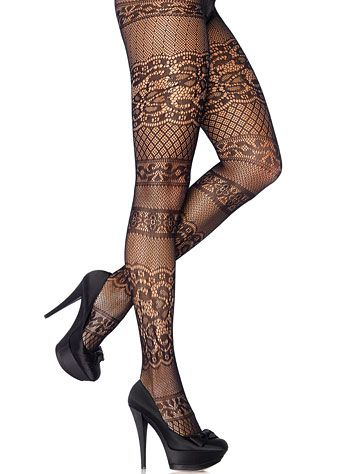 Antique Lace Stripes Pantyhose at PLASTICLAND