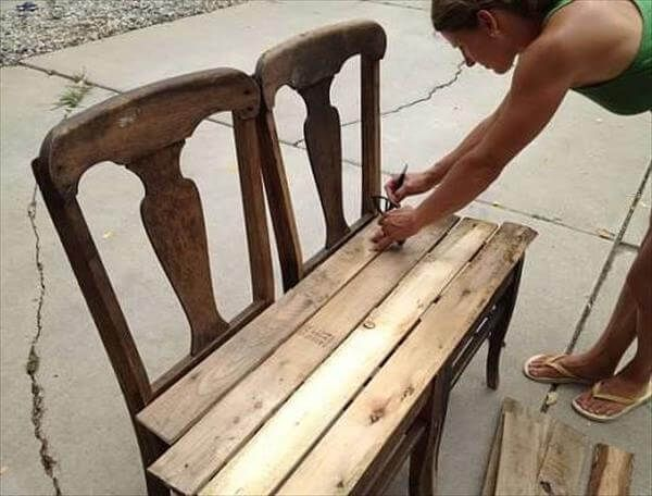 DIY pallets bench from chairs