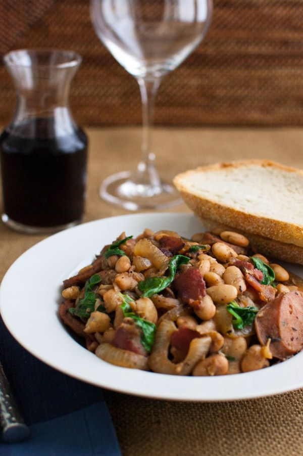 White Bean Stew with Bacon, Sausage, and Spinach | tamingofthespoon ...