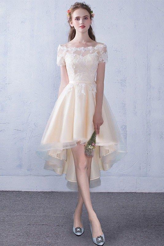 f6d8567b2c Shop Off Shoulder Lace High Low Champagne Wedding Reception Dress ...
