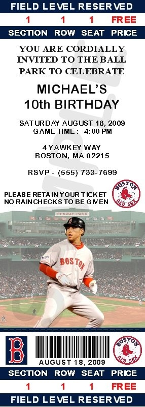 INVITATIONS - BASEBALL - Boston Red Sox Ticket Invitations - Ellsbury