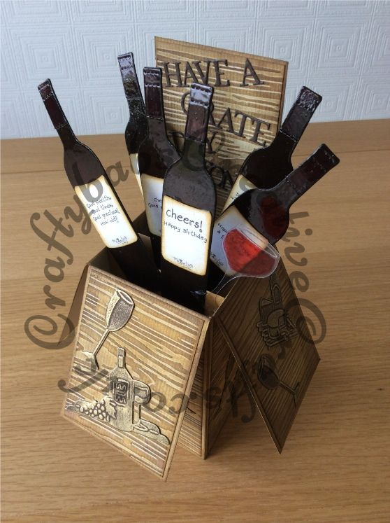 445 best wine themed images on pinterest wine bottle tags wine pop up birthday card made using a variety of dies including tattered lace sentiment dies from sets paper pieced to make words custom made wooden wine m4hsunfo