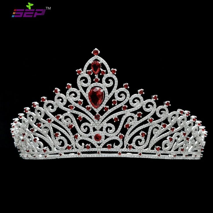 Sparkly Full AAA CZ Tiara Wedding Crown Bridal Hair Jewelry Women Headpiece Birthday Party Headband TR15091 (Red) ** To view further for this item, visit the image link.