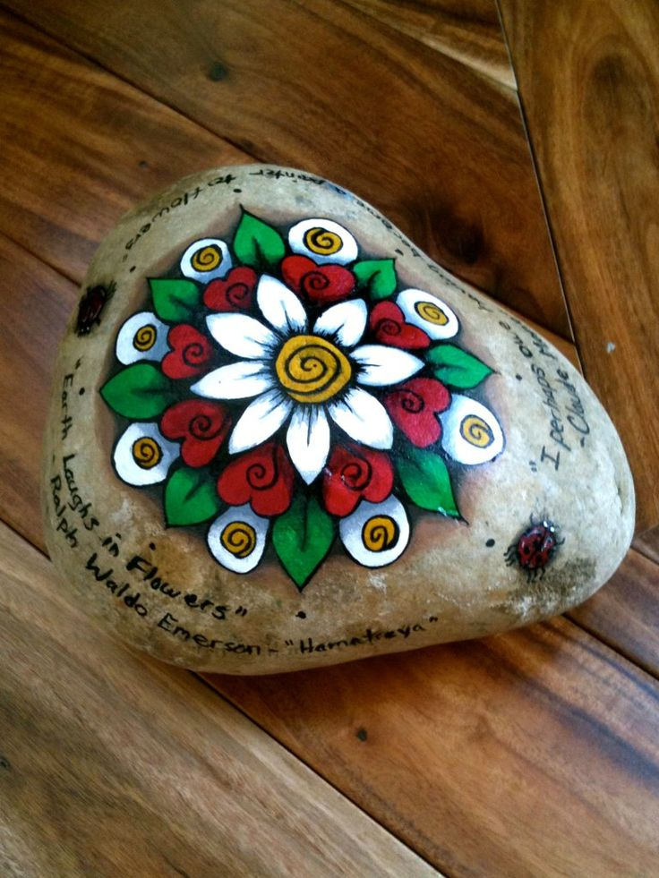 """https://flic.kr/p/8jQ4Yw   Painted Rock Door Stopper   I decided to paint my door stopper for something to do and a break from my other projects. Adds some character to my patio! :) The words are some quotes I thought were fitting: """"Earth Laughs in Flowers"""" - Ralph Waldo Emerson """"I perhaps owe having become a painter to flowers"""" - Claude Monet Blogged: www.whitevioletart.com/2010/07/my-sunny-weekend.html"""