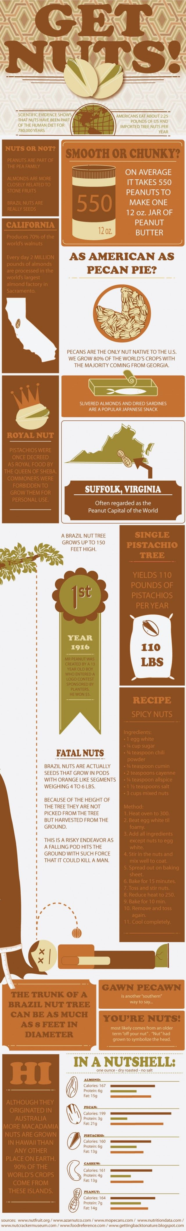 This is a great infographic about nuts, complete with a sweet/spicy mixed nut recipe! Get Nuts! Daily Infographic