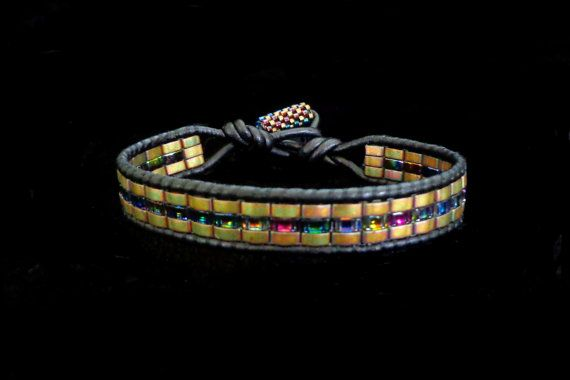 Brown+Leather+Wrap+Bracelet+with+Crystal+Magic+Blue+by+beadbound,+$25.00