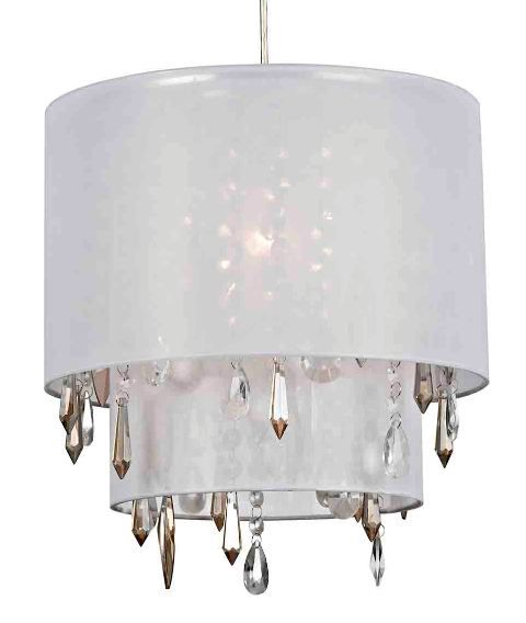 The beverley two tiered white non electric lampshade is dressed with clear and smoked glass and