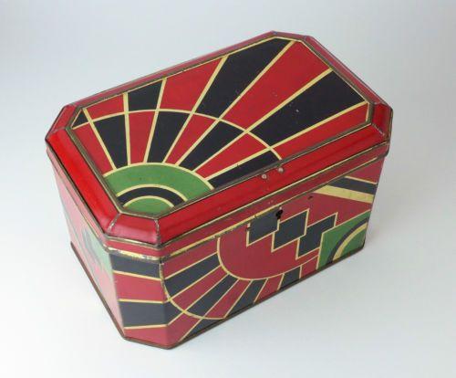 Grande Boite À Biscuits ART Deco Geometrique 1930s Métal Lithographié | eBay