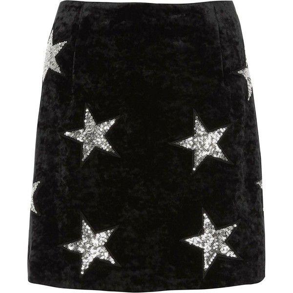 River Island Black velvet sequin star mini skirt ($70) ❤ liked on Polyvore featuring skirts, mini skirts, black, women, embellished mini skirt, embellished skirts, short mini skirts, short skirts and velvet skirt