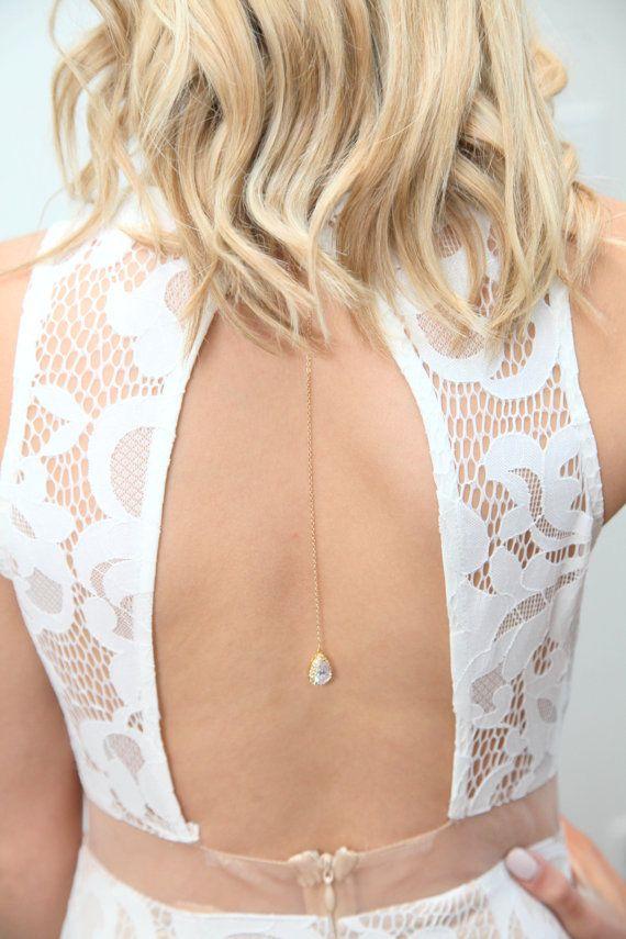 Bridal Backdrop Necklace Crystal Wedding by thefabbridaljewelry