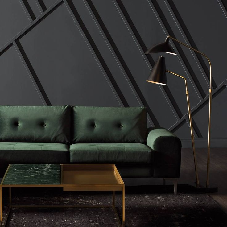 Nuevo Living | The Dominique Floor Light Stands Tall To Illuminate The  Colyn Sectional. Emerald Green Paired Elegantly With Brushed Gold And  Marble.