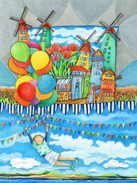 Windmolen Land - Kunst voor Kinderen van Sonja Mengkowski