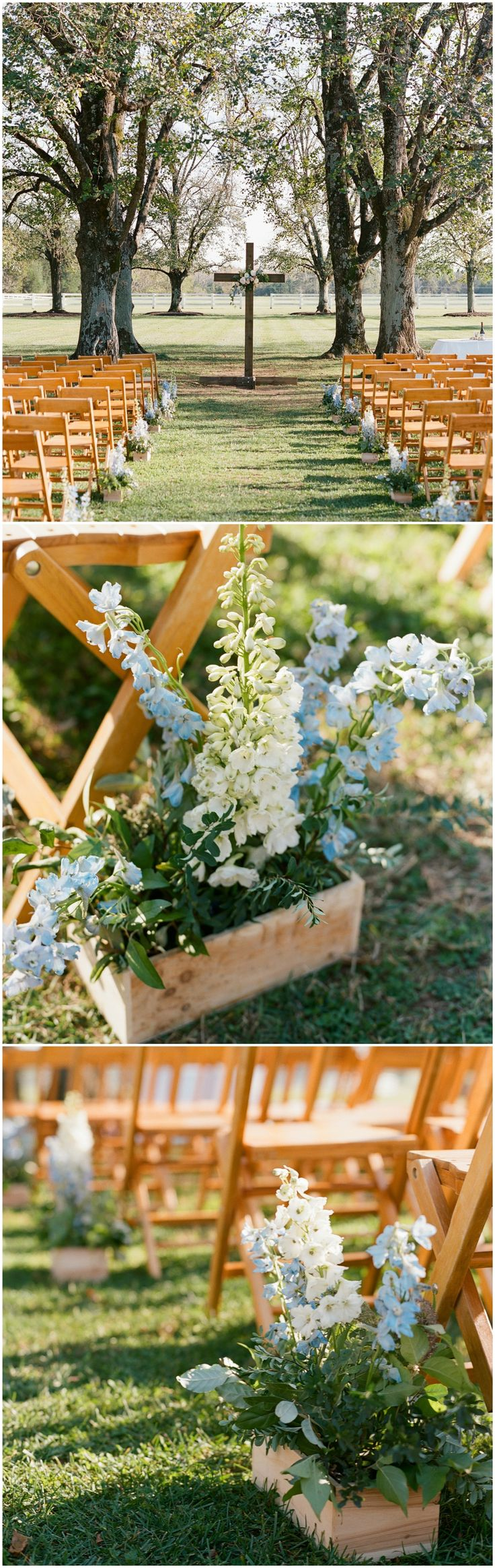 Religious wedding ceremony, wooden cross, folding wood chairs, blue flowers // Elisa Bricker