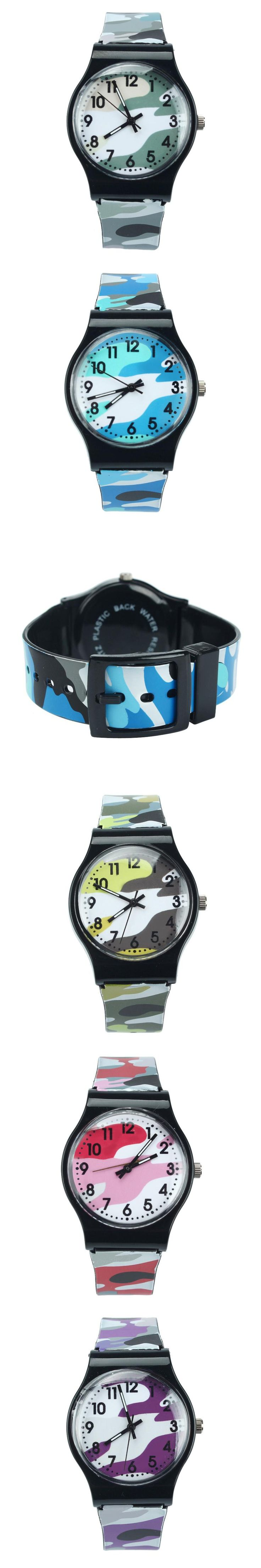 Feitong Top Quality Camouflage Children Students Quartz Watch Hot Sale Kids Sport Wristwatch Boys Girls Military Style Watches $2.14