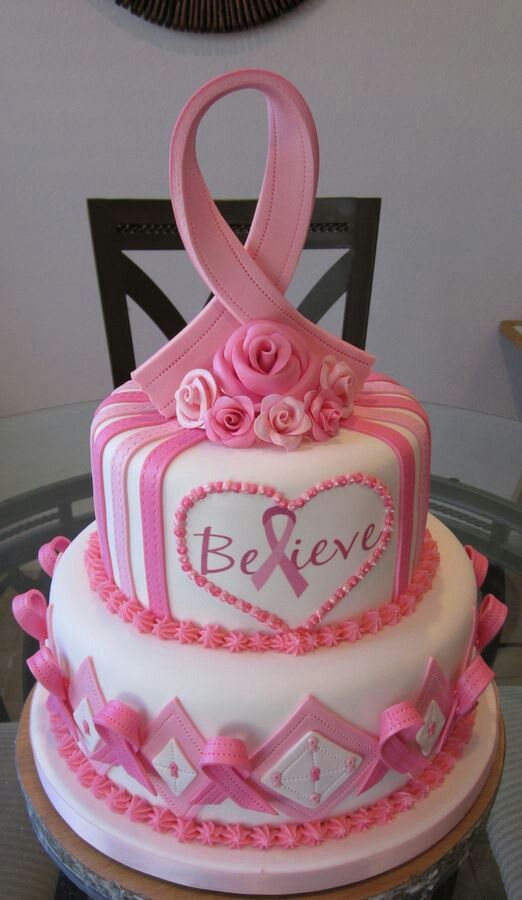 Pink and white cake for breast cancer