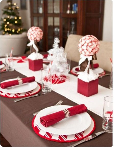 Top 100 Christmas TableDecorations - Christmas Decorating -Christmas Parties, Peppermint Topiaries, Christmas Tables Sets, Candies, Christmas Decor, Centerpieces, Christmas Ideas, Christmas Tables Decor, Holiday Tables