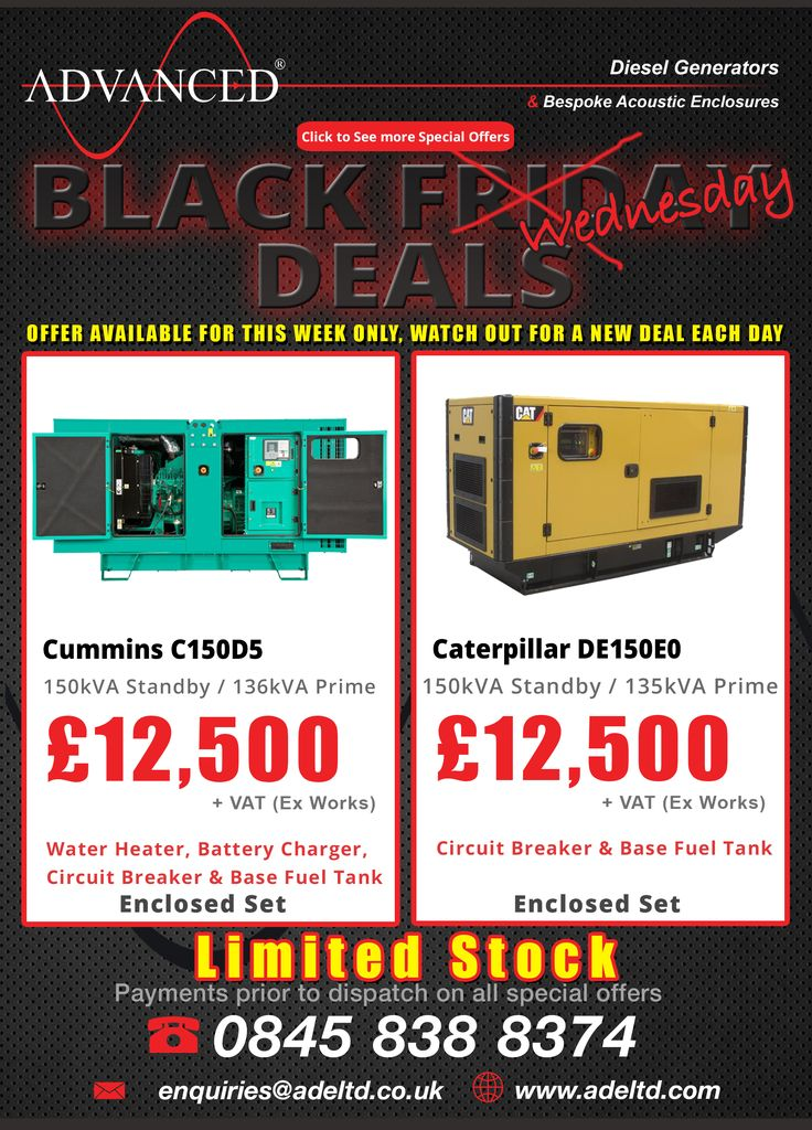 The week of deals at Advanced Diesel continues…  be sure to check out our website for a new deal each and every day on our Special Offers page but be quick as there is limited availability!    Tel: +44 1977 658 100  enquiries@buff.ly/2gg8YJB   #blackfriday #uk #Diesel Generators #wednesdaymotivation  #AutumnStatement