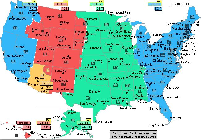 Us Time Zones Map With Cities Printable