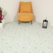 Marockanskt Kakel Turkoso Green är en handgjord, torrpressad cementplatta med klassiskt mönster i turkos,ljusgrön och vitt. användas inomhus och utomhus.