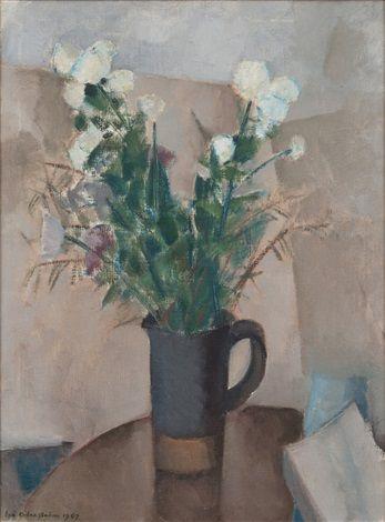 FLOWERS IN A JUG by Eva Cederström, oil on canvas, 88 x 66 cm. (34.6 x 26 in.)