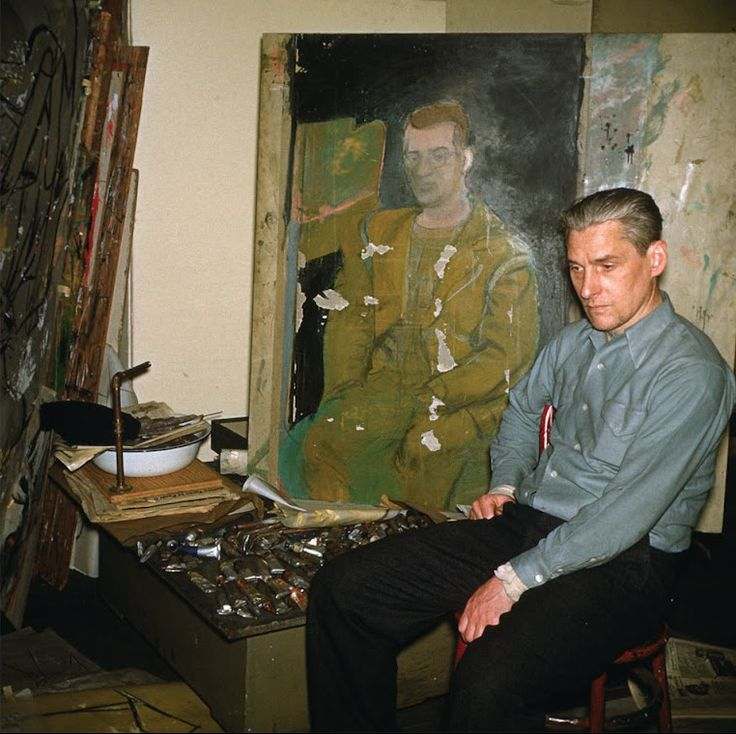 Willem de Kooning in his studio, March 1950. Photo by Max Margulis.