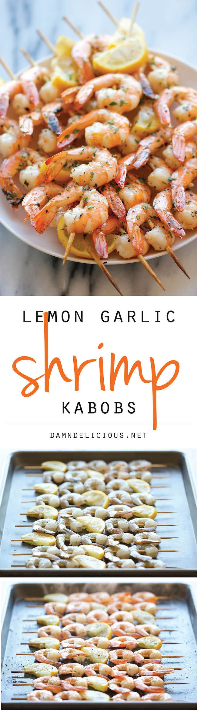 Lemon Garlic Shrimp Kabobs - medium shrimp - 5 lemons - kosher salt freshly ground black pepper - unsalted butter - 4 garlic cloves - dried oregano - dried basil - fresh parsley
