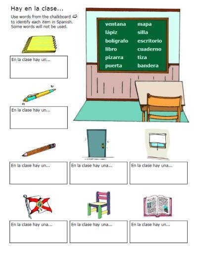 spanish worksheets printables spanish classroom objects worksheet label words list spanish. Black Bedroom Furniture Sets. Home Design Ideas