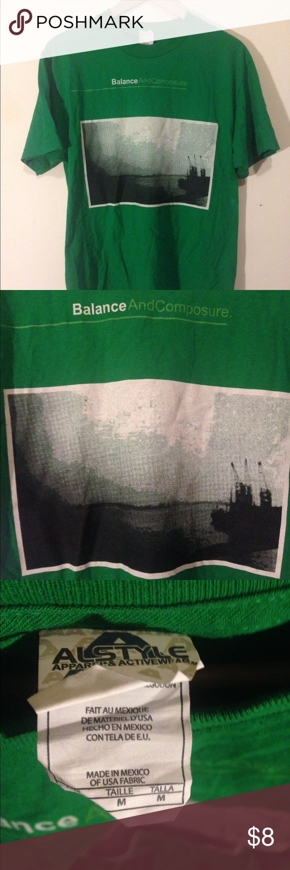 Balance and Composure Mineral tee Green Balance & Composure Mineral t-shirt. Pretty sure this was never worn. Alstyle brand shirt with a black and white water scene printed on it.  Band tee Shirts Tees - Short Sleeve