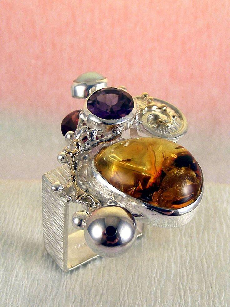 Gregory Pyra Piro #Konst #Smycken Sterlingsilver och Guld med Ädelstenar #Ring Nr. 1710
