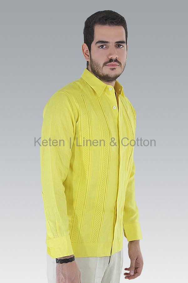 Hand Made Guayabera 100% with Italian Yellow Linen, long-sleeved shirt features a basic collar, button cuffs, a hidden buttoned front, and Hand Knitted Pleats in front...