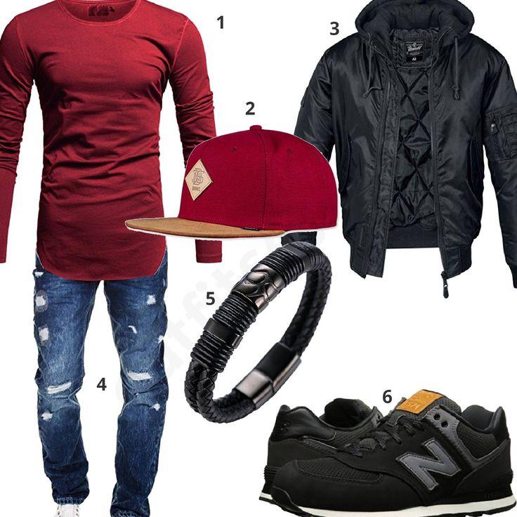 Lässiger Herren-Style mit roter Cap und Longsleeve (m0906)