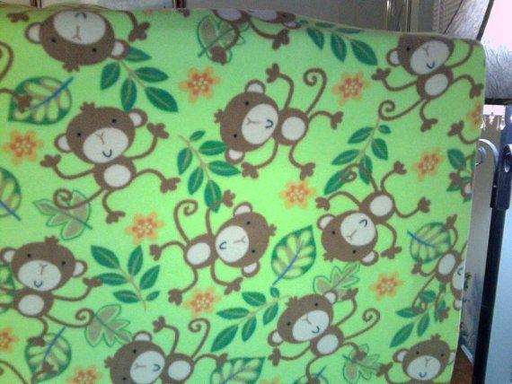 playpen sheet pack n play mattress dream on me monkeys on green background of micro fleece handmade