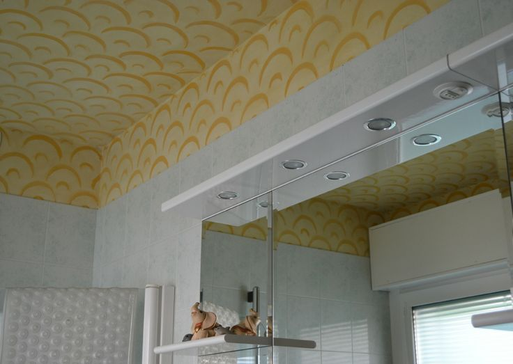 bathroom ceiling, painted with silicate paint. Rosso Sinopia 2012